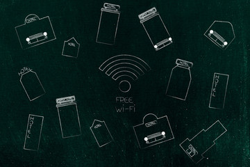 wi-fi icon surrounded by group of hotels