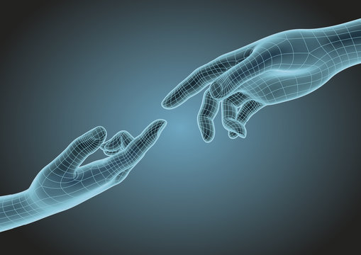 Two wireframe human hands pointing one each other modern science hologram