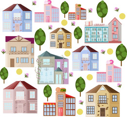 Buildings and green trees Pattern background Vector