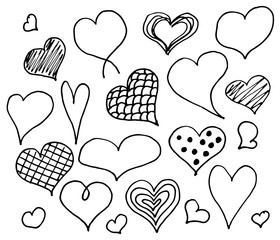 Valentines day hearts doodles set. Romantic stickers collection. Hand drawn effect vector