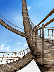 Old wooden suspended bridges against blue sky. 3D illustration