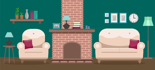 Cozy interior of a modern elegant living room with an armchair, a sofa, a tv table, a fireplace, and various decorations. Flat style vector design template