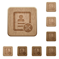 Cut contact data wooden buttons