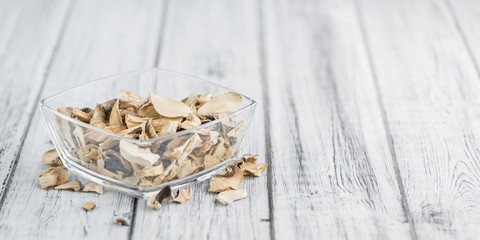 Portion of Dried white Mushrooms