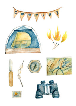 Watercolor camping set for designer's needs with tent, binocular, map, compass, pocket knife