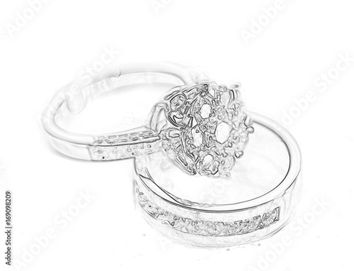 Wedding Rings Sketch On White Background