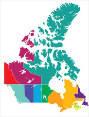 Vector - Complete Map of Canadian Territories Coloured version