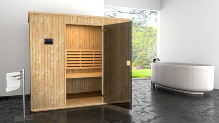 Sauna in moderner Umgebung