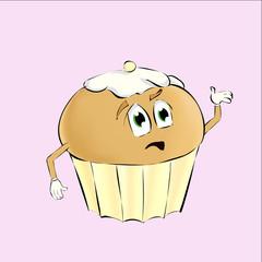 Cake cartoon style vector illustration isolated on white background