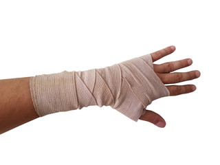 hand bandage right hand male isolated white background