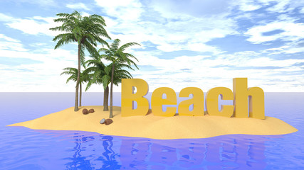 beach word in the island 3d illustration