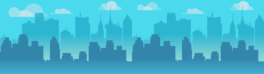 Poster Turquoise City skyline vector illustration. Blue city silhouette. Daytime city skyline. Vector Illustration for your application.