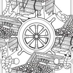 Pirate zentangle seamless pattern.