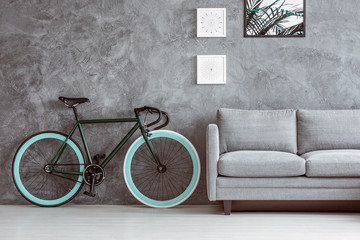 Bike next to grey sofa