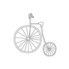 Silhouette of classic vintage bike isolated on white background. Antistress coloring book. Hand drawn elements for your designs dress, poster, card, t-shirt