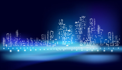 The view on the city at night. Vector illustration.
