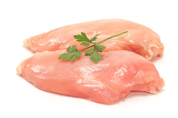 Raw chicken breast fillet isolated on white