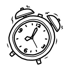 alarm clock / cartoon vector and illustration, black and white, hand drawn, sketch style, isolated on white background.