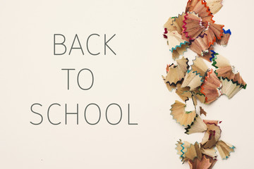 pencil shavings and text back to school