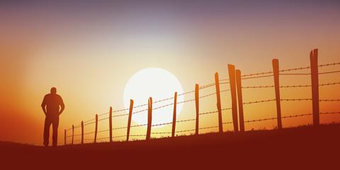 promenade - campagne - homme - marchant - chemin - seul - coucher de soleil