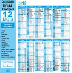 Calendrier 2018 - annuel - éditable - unicolore bleu
