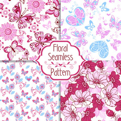 Collection of seamless pattern in blue and pink colors. Endless texture with butterflies, hearts and flowers. Decorative ornament backdrop for fabric, textile, wrapping paper