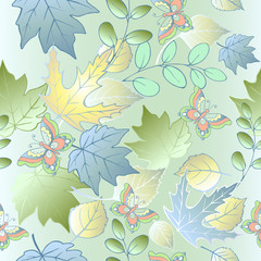 Seamless pattern of autumn leaves and butterflies. Blue leaves