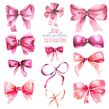 Set of watercolor pink bows, hand painted isolated on a white background