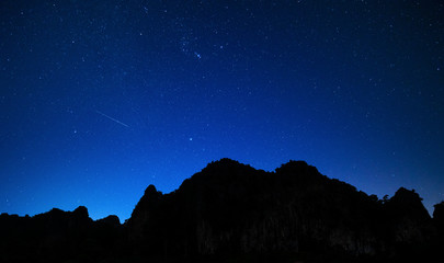 Night sky and mountains