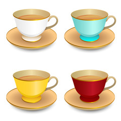 Vector drawing of cups of different colors