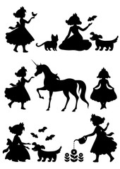 Vector set of silhouettes stroke, little princess with animals