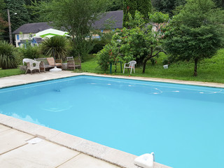 Outdoor swimming pool with blue water near the garden