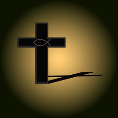 Image of cross with shadow on floor. Christianity concept.