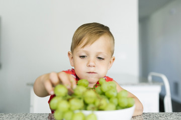 Boy (2-3) eating white grapes in kitchen