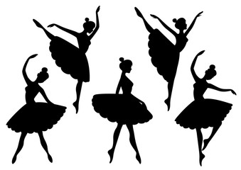Vector set of silhouettes of ballerinas