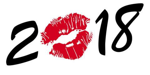 2018 - baisé - rouge à lèvres - amour - carte de vœux - amoureux - année