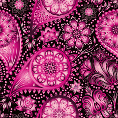 Paisley vintage floral motif ethnic seamless background.