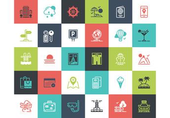 30 Multicolored Square Travel Icons 1