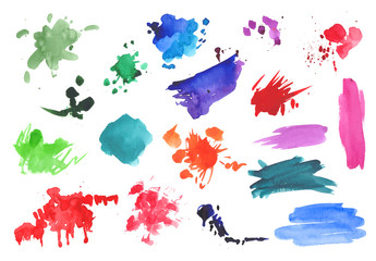 Watercolor brushstrokes and splotches