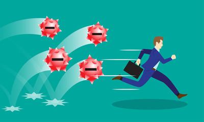 Businessman Running From Negativity Spiky Balls