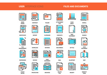 30 Orange and Cyan Document Icons 1