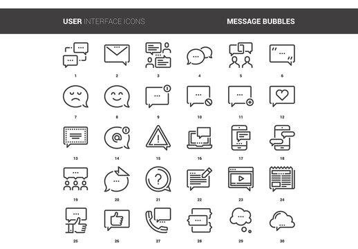 30 Line Art Communication Icons 1