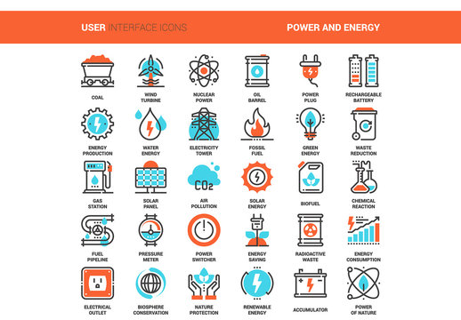 30 Orange and Cyan Energy Icons 1