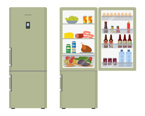 Green fridge with open doors, a full of food. Vector flat illustration.