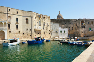Monopoli harbor with the old town and boats