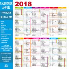 Calendrier 2018 annuel en français, éditable, multicolore