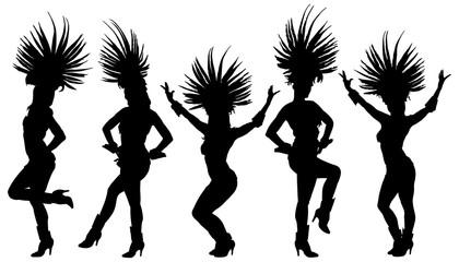 Brazil carnival dancers vector silhouette illustration isolated on white background. Rio De Janeiro street carnival.