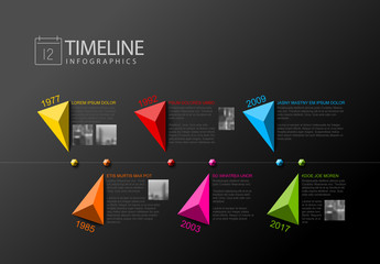 Faceted Shapes Timeline Infographic Layout