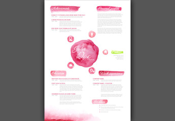 Pink Watercolor Digital Resume Layout