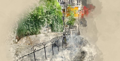 Tourists walking to Montmartre hill in Paris